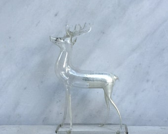 Ice Deer Antique Faded Mercury Glass Reindeer Christmas Ornament
