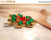 15% OFF VALENTINE SALE Holiday Jewelry Brooch Vintage Red and Green Brooch Special for Holiday and New Year festivities.