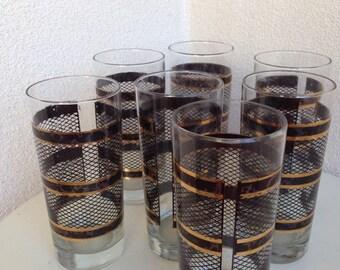 Vintage Entertainment Time glasses tall tortoise print black gold trim 12 oz set 7