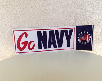 Vintage bumper sticker Go Navy for the US Navy