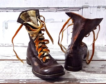 High Top Boots Child Size Unisex Kid - Brown Leather - Canvas Lining  - Lace Up Shoes Antique Early Century