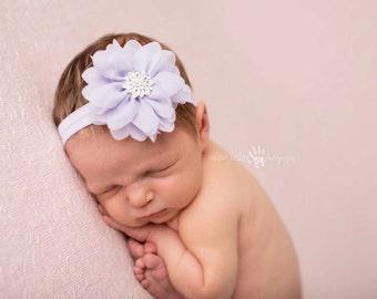 Purple headband, Baby Headband, Hair Accessories- Light Purple Chiffon Flower with Rhinestone center on Light Purple Elastic Photography