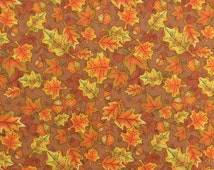 Cotton Quilting Fabric by the Yard Fall Fabric Leaf Fabric Acorn Fabric Orange Rust Brown - 1 Yard Plus - CFL1543
