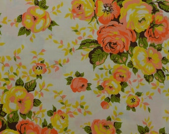 Vintage Floral Fabric, Yellow Orange Floral, Vintage Fabric, Cotton Floral Fabric, Home Decor Fabric, Retro Fabric - 1 1/4 Yard - CFL1799