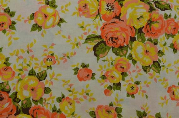 Vintage Floral Fabric, Yellow Orange Floral, Vintage