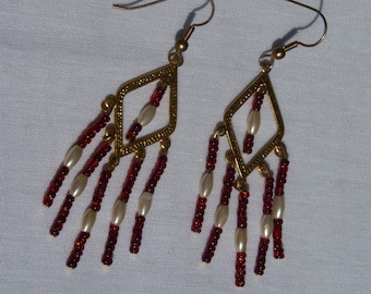 Gold Dangle Earrings with red and white beads