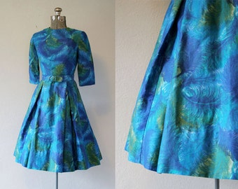 1960's Feather Print Cotton Dress /