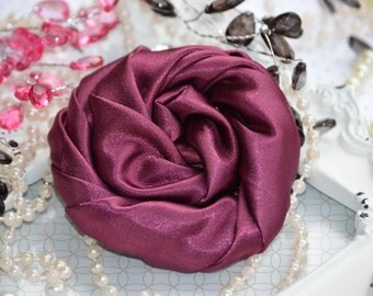 "Burgundy Large Satin Roses - 3"" Large Satin Rolled Flowers - Wholesale Lot - Satin Rolled Rosettes - Fabric Flowers Wholesale"
