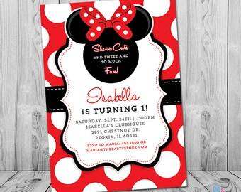Minnie Mouse First Birthday Invitation, Minnie Mouse 1st Birthday Invitation, Minnie First Birthday, Birthday Invitation Girl - Printable