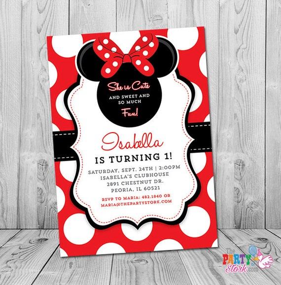 Minnie mouse first birthday invitation minnie mouse 1st birthday il570xn filmwisefo