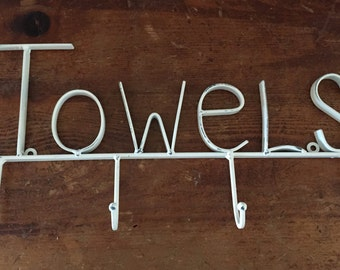 White Wall Hook/ Towel Holder / Bathroom Hook / White / Pool House /Towel Hook / Organization Bath
