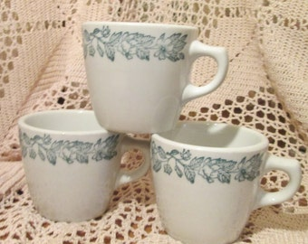 Lot of 3 Vintage Shenango China Green Floral Restaurant Ware Coffee Cups / Mugs, 1959