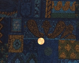Cotton Fabric / Blue Cotton Fabric / Vintage Cotton Fabric / 1 Yard