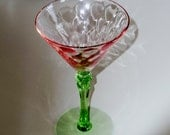 """RESERVED: 1 WATERMELON MARTINI Cocktail Liquor Pink Green Stem Base Goblet Diamond Optic Depression 7"""" Tall Crystal Glass One Excellent"""
