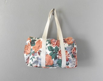 Floral Duffle Bag Vintage 90s Cotton Canvas Overnight Weekender Tote Bags Pink Blue Flower Print Hipster Travel Carry On Purse Handbag 1990s