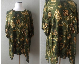 Tribal Print Oversized Blouse Tunic Green Beige 80s Flowy Mini Dress Hippie Boho Size XL/XXL Extra Large Rayon Shirt 1980s Draped Top Hippy