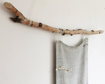 Tapestry 001 - Long Smoke Grey White Birch Wool weaving collaboration with Rebecca Daryl