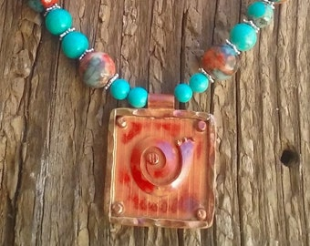 "CLEARANCE, turquoise,ocean jade necklace 18"" copper pendant"