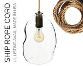 Bubble Ship Rope Hand Blown Glass Pendant Light- USA MADE