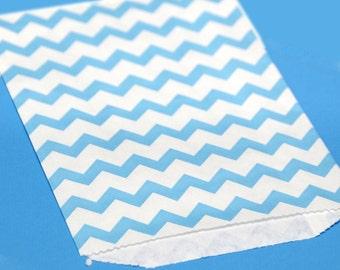 Blue Chevron Print Paper Bags