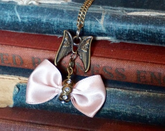 Angel Wing Charm Necklace, Pink Bow charm, Steampunk Angel Pendant Necklace,Victorian, Steampunk Necklace, Victorian Style Charm Necklace