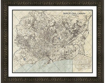 MAP of BARCELONA Spain in a Vintage Grunge Weathered Antique style