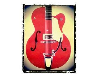 red Gretsch guitar art print / music gift / rock n roll art / music room decor / guitar gift / man cave art
