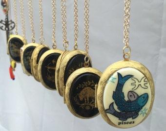 Zodiac vintage cabochan brass lockets 24k gold filled long chain pendant locket necklace unique astrology zodiac vintage jewelry