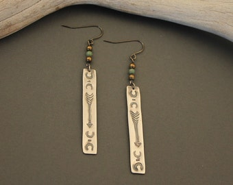 Nomad stamped sterling silver arrow and crescent moon earrings with turquoise and gunmetal