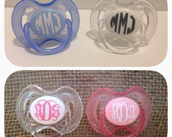 Monogrammed pacifier with vinyl decal