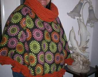 Funky Shapes Floral Fleece and Crocheted Poncho with Cowl/Hood