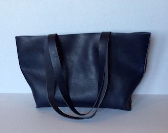 Leather Tote Bag/Midnight Blue eather Tote Bag/Ladies Tote Bag/Large  Handbag