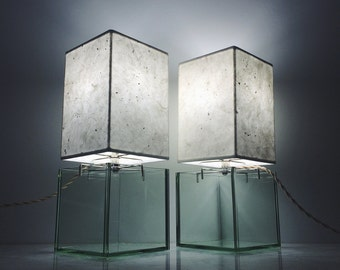 Square Jade Vessel Lamp Pair