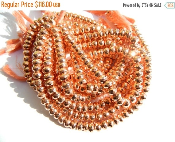 20%off. wholesale --- 4 Strand of Copper pyrite coated faceted roundele beads-Size 7mm Approx.
