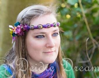 Head Wreath, Flower Crown, Floral Crown, Elven Circlet, Hippie Headband, Boho Bridal Headdress, Wearable Fiber Art, Woodland Hair Wreath