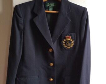 Women's Vintage Clothing /Lauren Worsted Navy Blue Wool Blazer / Ralph Lauren Classic Navy Blazer Preppy Blazer / Colligante Artire