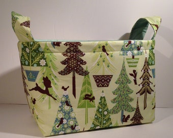 Fabric Storage Basket Organizer Bin Storage Container-Nostalgic Christmas Trees with Light Green Interior