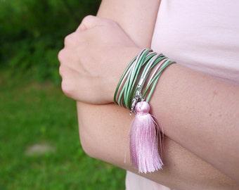Tassel Bracelet, Palm leaf charm, Green Rose Boho Fringe Bracelet, Green Wrap Bracelet, Botanical Hippie Bracelet, Tropical Leaf bracelet