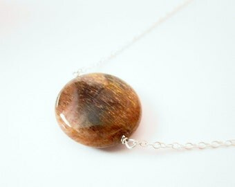 Sunstone Moonstone Necklace-Round Stone Necklace-Sterling Silver Simple Neckace