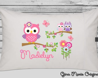 pillow case pillowcase girly owls in bright pink purple lavender greens girl toddler kids children