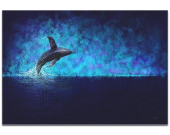 Whale Painting 'Breaching the Night' by Ben Judd - Humpback Art Whale Wall Art on Metal or Acrylic