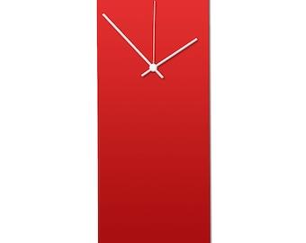 Redout White Clock | Modern Metal Wall Clock, Minimalist Red & White