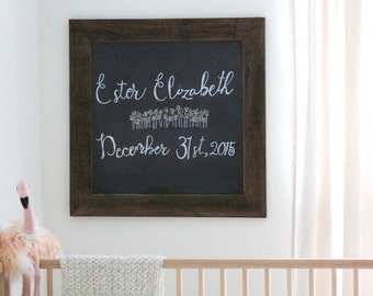 Reclaimed Wood Chalkboard - Nursery Decor - Chalkboard 28 x 28 - Reclaimed Wood Frame - Wedding Gift - Christmas - Wood Chalkboard