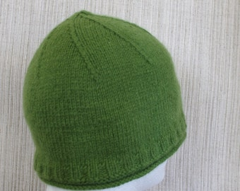 Pure Cashmere Green Spring Hand Knit Soft Warm Beanie Hat Cap for Men or Women
