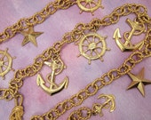 Reserved for StarDustWanderLust - Vintage Accessocraft Belt - Nautical Chain Link Belt - Gold Plated Textured Chain - Anchors Stars Wheels R