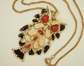 "Vintage Owl Necklace - Articulated Enamel Owl Pendant - Gold Plated Metal Elements - Chain 17"" - Pendant 2.5"" length x 1.5"" width"