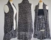 Women's clothing upcycled black leopard shrug with skirt sleeveless boho M-L