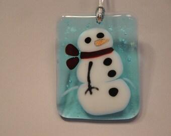 Fused Glass Snowman Ornament - BHS03500