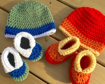 Triple Treat Baby Booties and Hat, Pattern PDF instant download, size newborn - 9 months