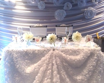 Rose Garden Table Linen/ specialty linen/ Sweetheart Table/ Wedding Decorations/ Cake Table / bride and groom/ Bridal Shower/ Baby Shower